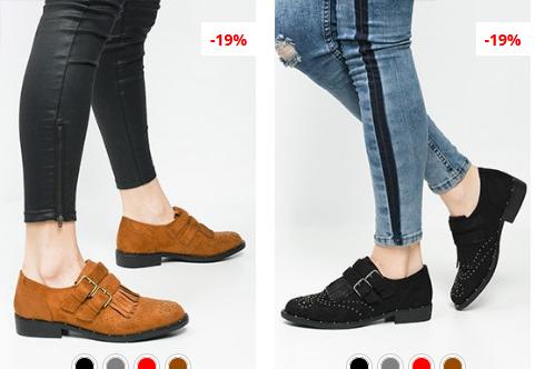 Pantofi casual negri, Maro din piele eco itnoarsa la reducere