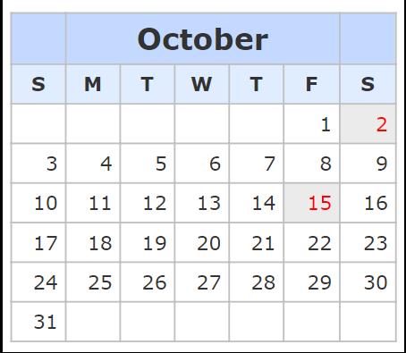 Kalender October 2021