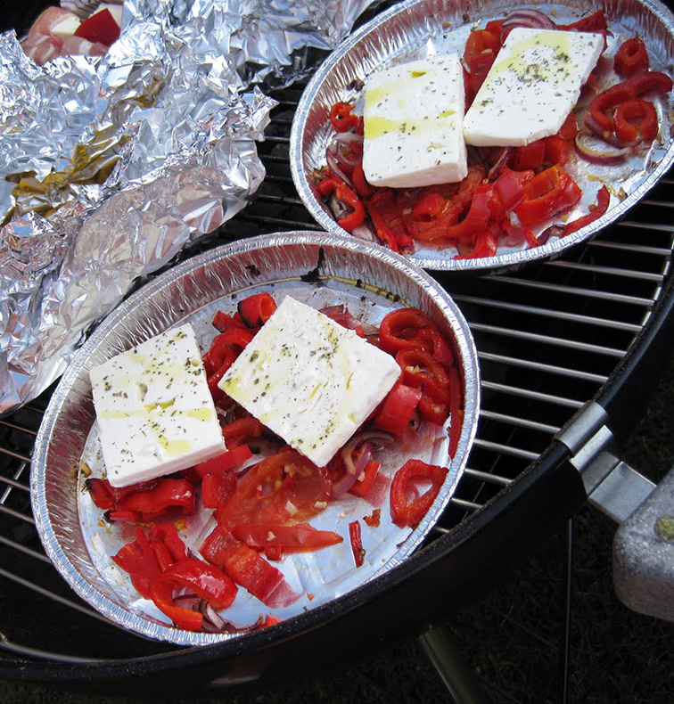 Feta and Peppers on BBQ
