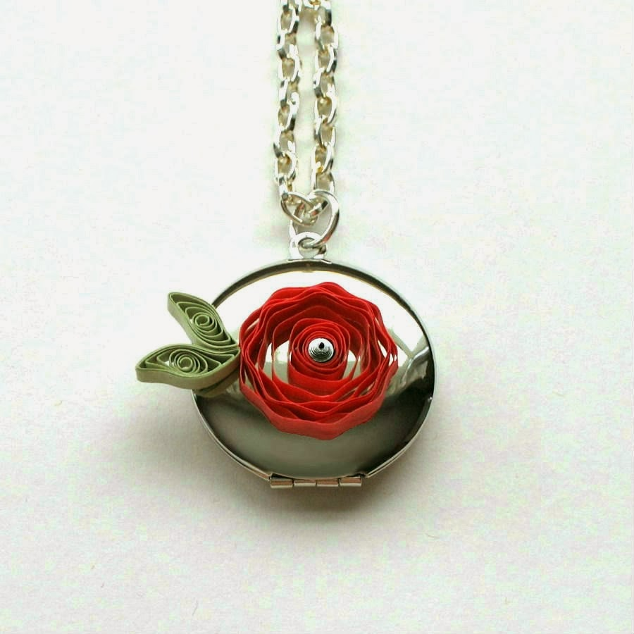 Quilled Rose Locket - paper jewelry by Ann Martin