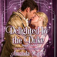 Delighted by the Duke audiobook cover. A woman in pink kisses a man dressed in a golden brocade coat and cravat in a magical, Regency scene.