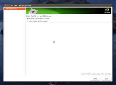 NVIDIA X Server Settings Linux Prime Profiles Only