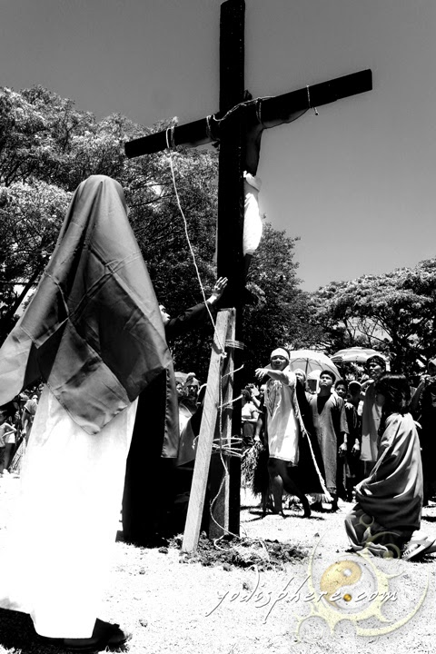 Mary looking at Jesus at the cross during the crucifxion reenactment in Torrijos Marinduque