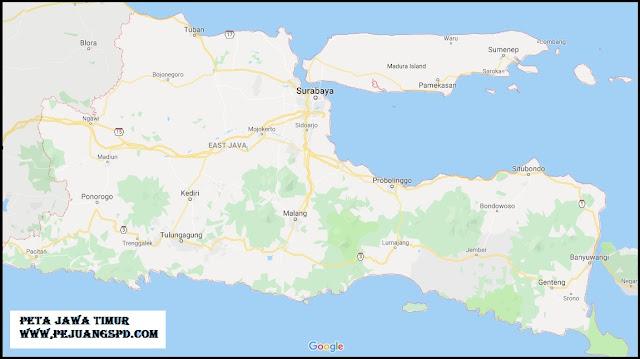 Peta Jawa Timur Lengkap Daftar Nama Kota dan Kabupaten