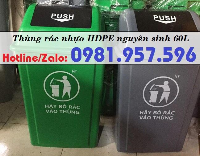 Thùng rác nhựa 60L, thùng rác nắp bập bênh, thùng rác nắp lật