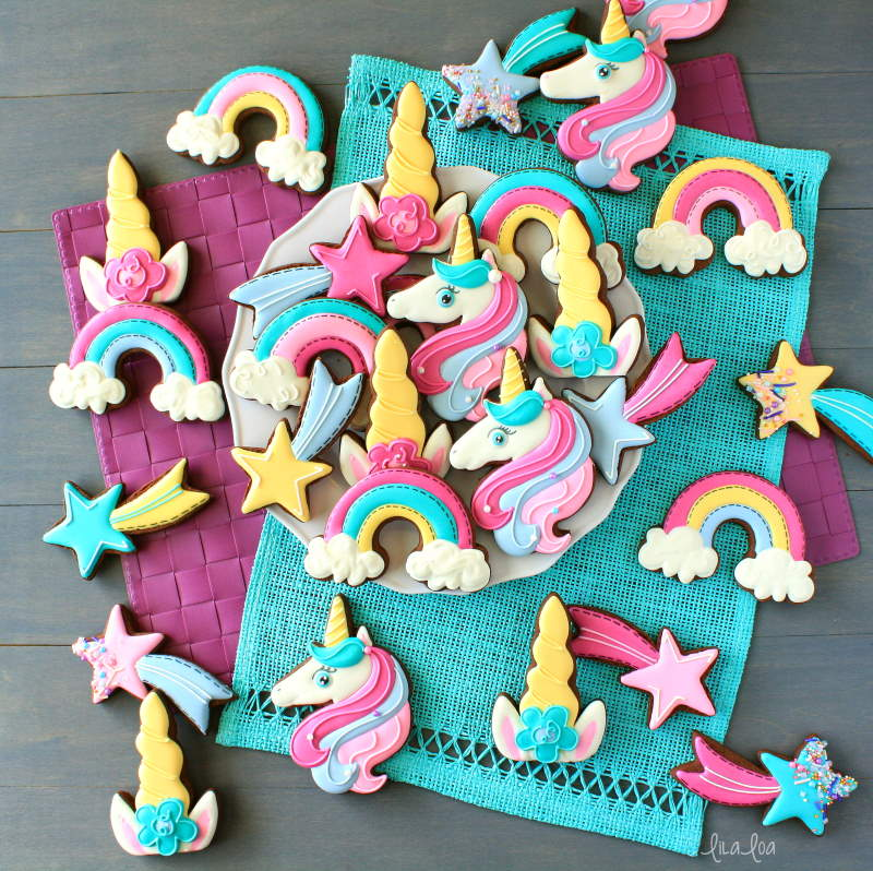 Brightly colored unicorn decorated chocolate sugar cookies
