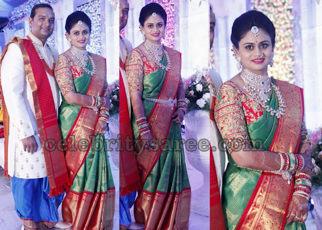 Pretty Lady in Green Big Border Silk Saree