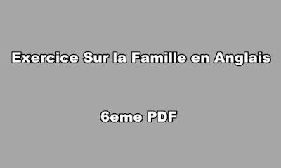 Exercice Sur la Famille en Anglais 6eme PDF