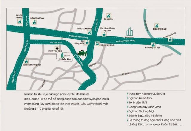 Vị trí dự án căn hộ chung cư Garden Hill 99 Trần Bình.