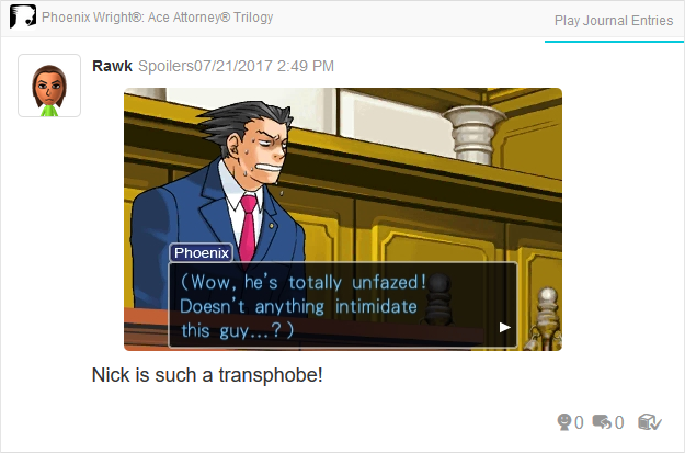 Phoenix Wright Ace Attorney Trials and Tribulations transphobe Jean Armstrong transphobia LGBT