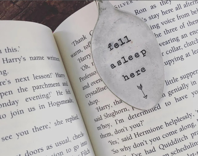 Upcycled vintage hand-stamped bookmarks share a love of books and reading!