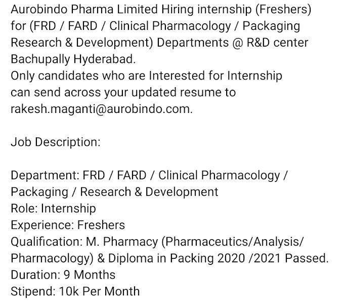 Aurobindo Pharma Fresher Job