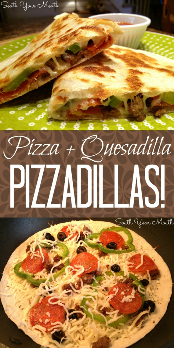 A cross between a PIZZA and a QUESADILLA, this is a super quick and easy recipe for weeknight meals or hot lunches that takes all your favorite pizza toppings and cooks them in a skillet on a tortilla.