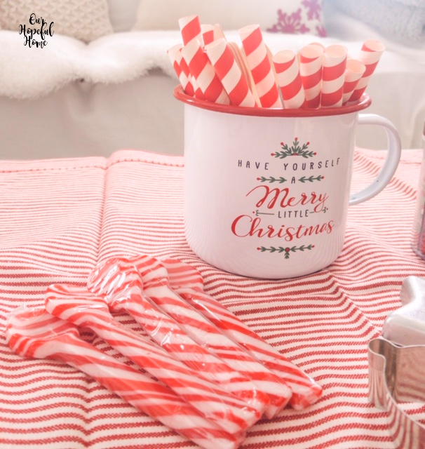 candy cane spoons Have Yourself A Merry Litle Christmas tin mug striped towel