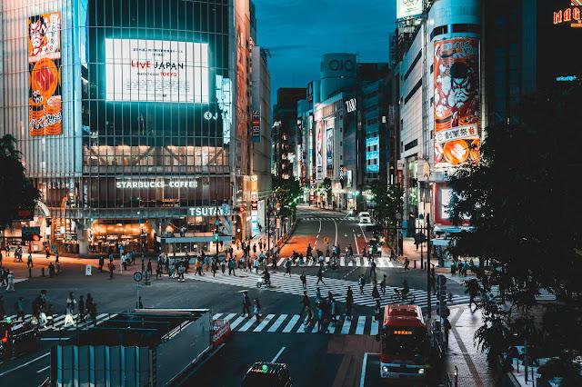 夜景,渋谷,スクランブル交差点