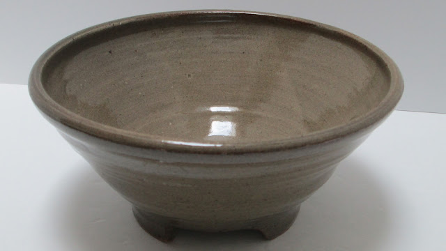 Studio Pottery Bowl Hand Thrown Olive Glaze Notched Foot Marked