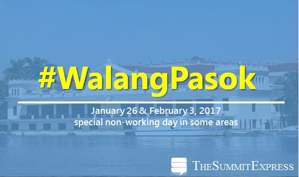 Palace declares January 26 and February 3, 2017 special holiday
