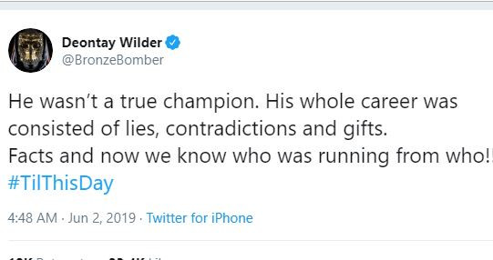 American boxer, Deontay Wilder mocks Anthony Joshua says He wasn't a true Champion
