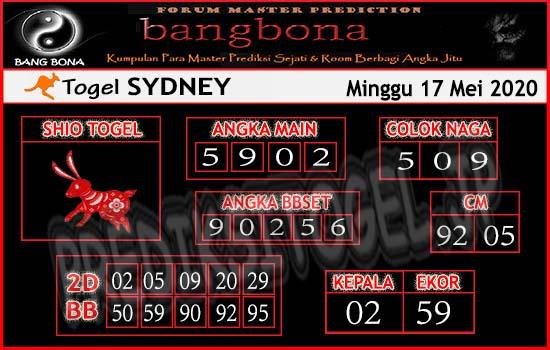 Prediksi Togel Sydney Minggu 17 Mei 2020 - Bang Bona