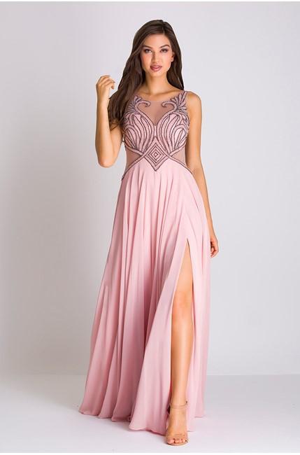 vestido longo rose fluido com fenda