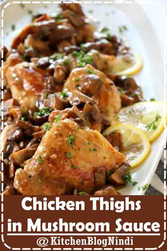 4.9★★★★★ | A quick one pan meal to put together in 30 minutes and so delicious. Try using an assortment of different mushrooms for variety. This dish can be made with chicken breasts as well. Serve on top of buttered egg noodles or a big bunch of spinach #Chicken #ThighsMushroom #Sauce