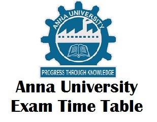 Anna University UG PG Exam Time Table 2017-2018
