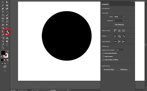 Activate Gradient Tool from the Toolbox