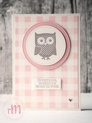 Stampin' Up! rosa Mädchen Kulmbach: Babykarte mit Buffalo Check, Gut gesagt, Stickmuster und Eule