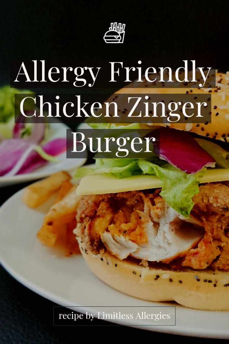 pinning image for Allergy Friendly Chicken ZInger Burger