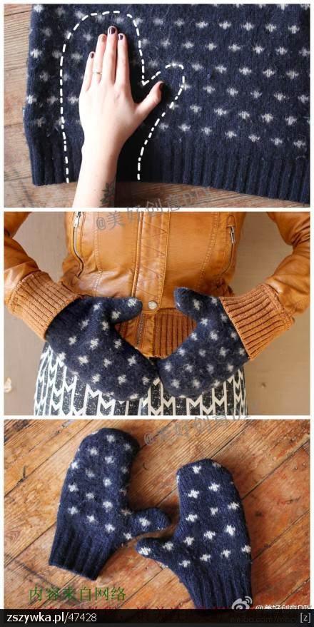 jak uszyć, na zimę, Rękawice, rękawiczki, szybko, z jednym palcem, ze swetra,
