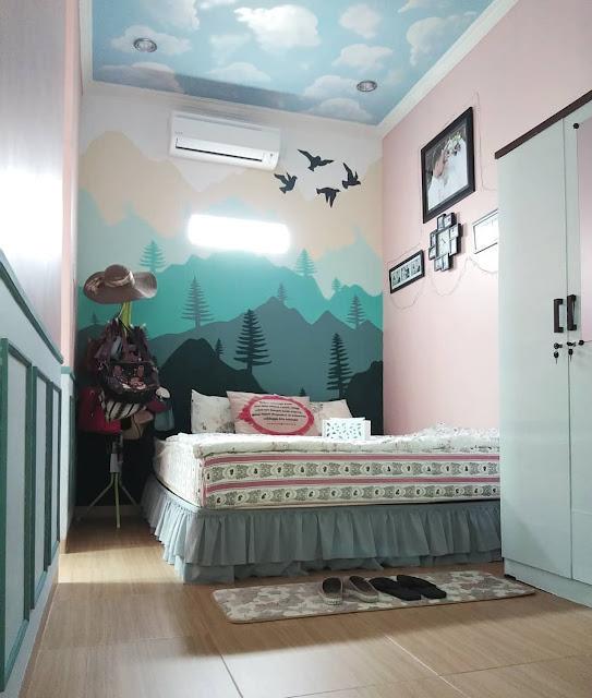 Wallpaper Dinding Kamar Tidur Romantis Motif Pemandangan