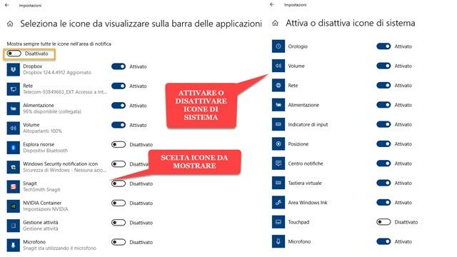 scegliere le icone da visualizzare nella barra delle applicazioni