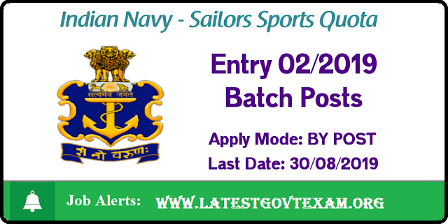 Indian Navy Recruitment Sailors Sports Quota Entry 02/2019 Batch Posts