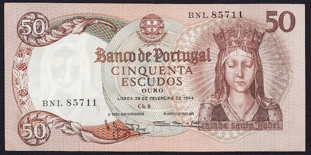 Portugal Banknotes 50 Escudos banknote 1964 Queen Santa Isabel, Saint Elizabeth of Portugal