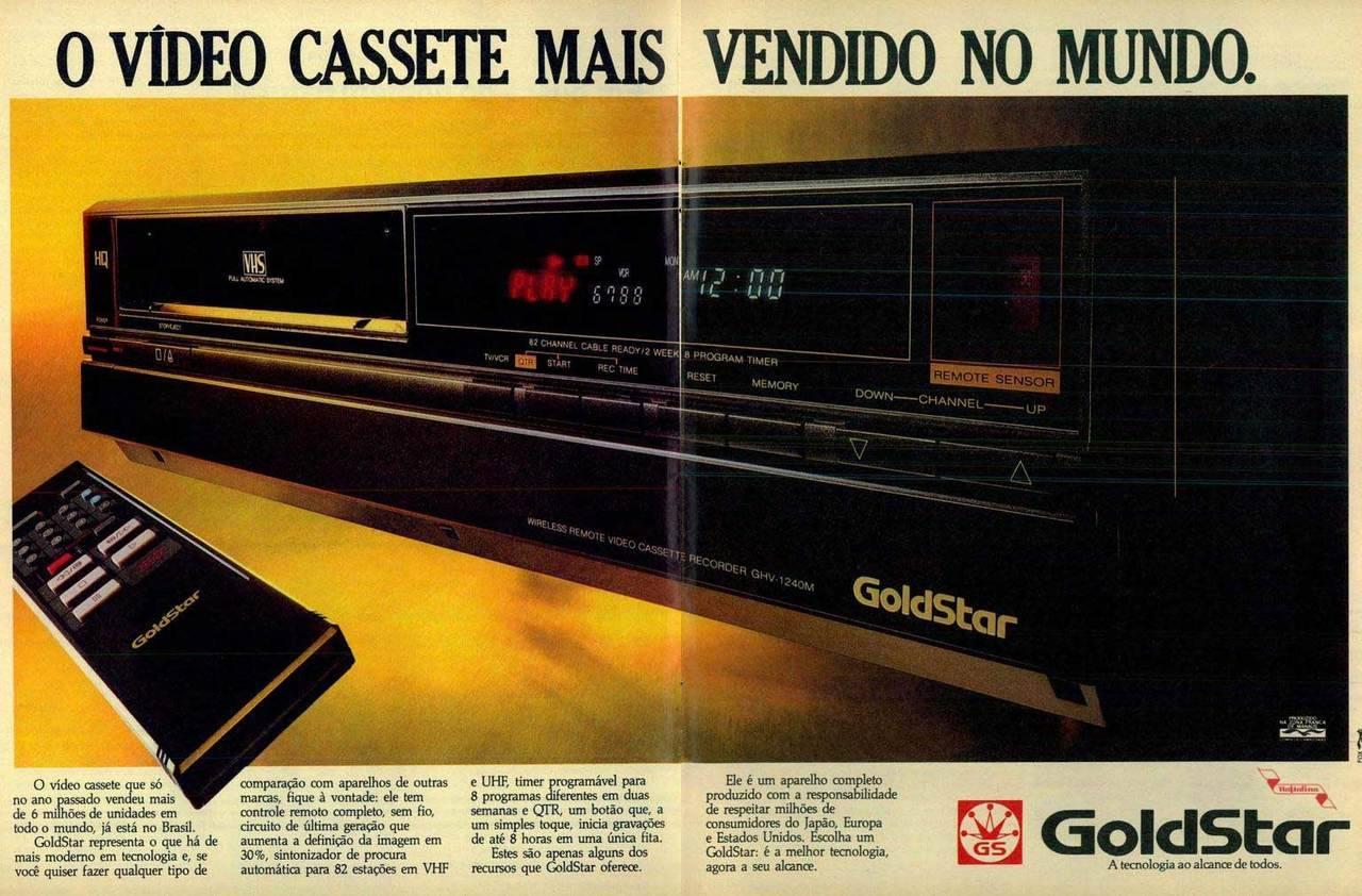 Propaganda antiga veiculada em 1984 da GoldStar promovendo sua linha de videocassetes