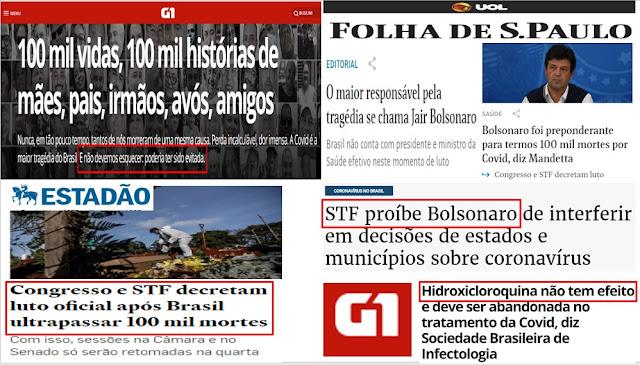 GLOBO e FOLHA - Os influenciadores para a grande quantidades de mortes pela COVID-19 botam a culpa em Bolsonaro