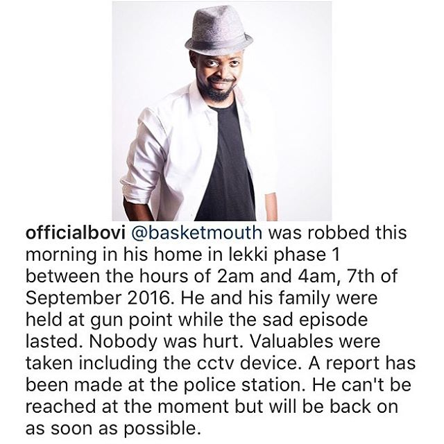 Image result for basketmouth robbed at home