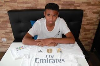 Nigerian midfielder reacts after training with Real Madrid first team