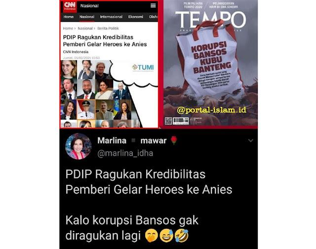 PDIP Ragukan Kredibilitas Pemberi Gelar Heroes ke Anies, Netizen: Kalo korupsi Bansos gak diragukan lagi