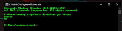 wmic diskdrive get status