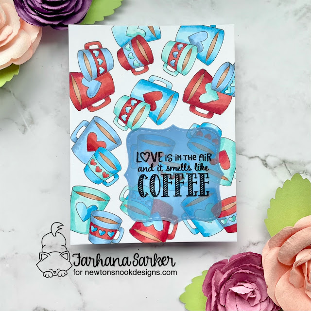 Coffee Love card by Farhana Sarker | Love Café Stamp Set and Frames Squared Die Set by Newton's Nook Designs