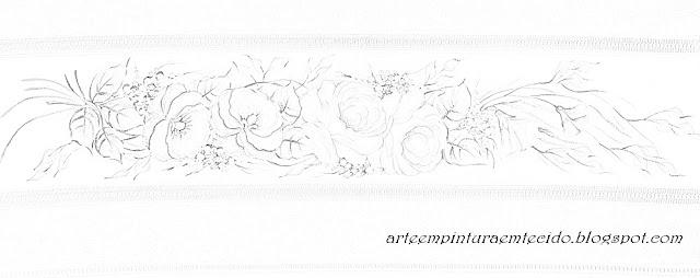 barrado de flores pintura em tecido