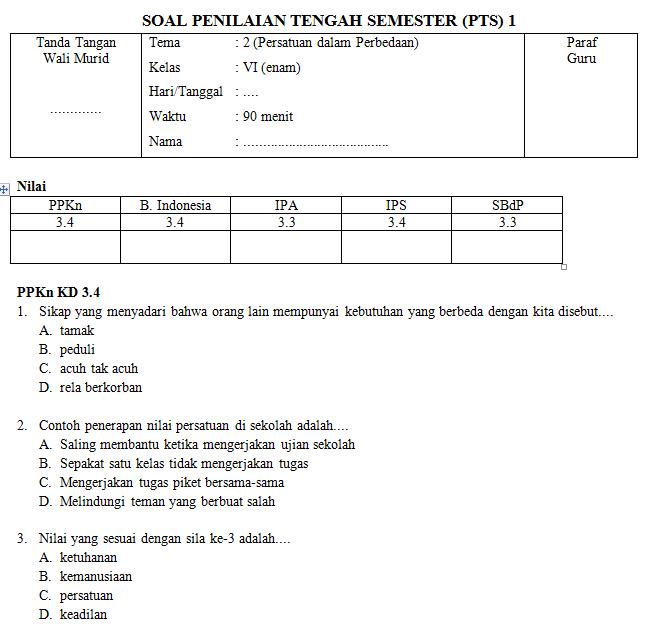 Download Soal Pts Kelas 6 Tema 2 Semester 1 Koleksi Soal Sd