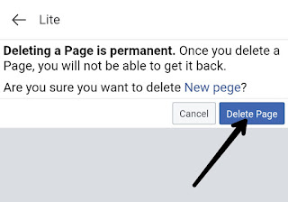 confirmed message to delete your Facebook page,