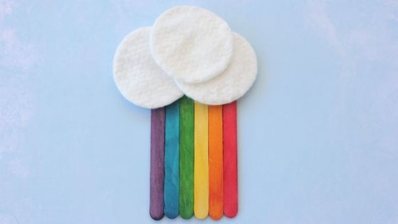 Spring crafts for kids - popsicle stick rainbow craft