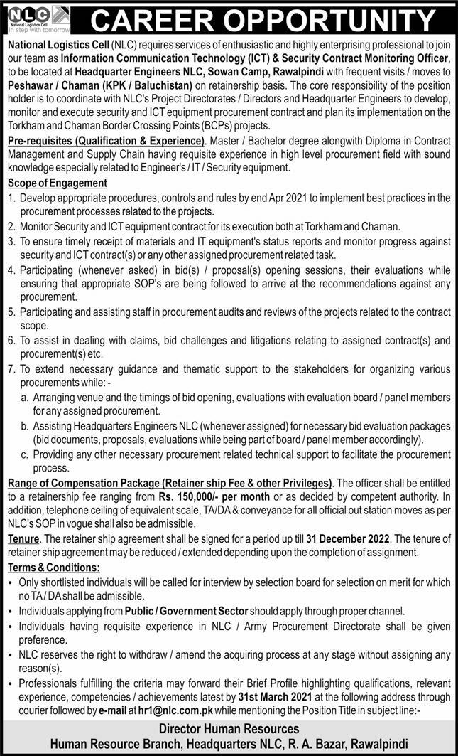 Latest National Logistics Cell NLC Jobs 2021