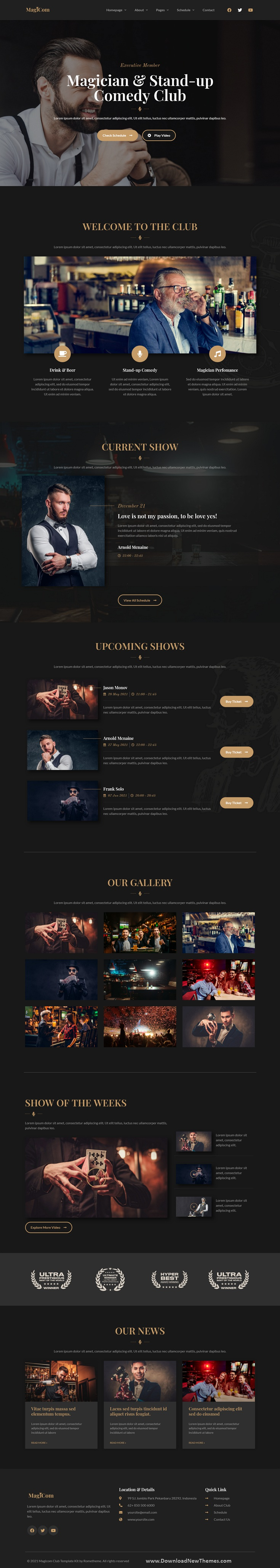 Magician and Comedian Club Elementor Template Kit