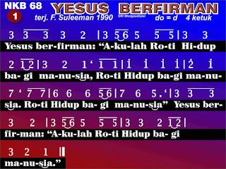 Lirik dan Not NKB 68 Yesus Berfirman