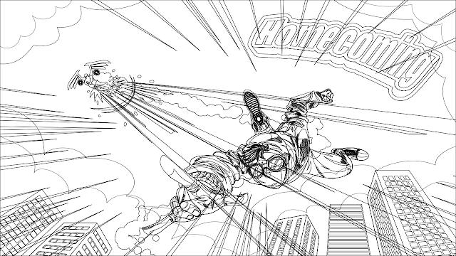 ilustrasi komik spiderman homecoming dengan inkscape