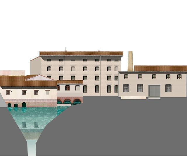 Dibujo. arquitectura agua, Molino del Passiego, Sueca